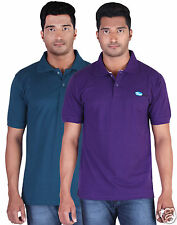Fleximaa Men's Collar (Polo) T-Shirt Petrol Blue & Purple Color (Pack of 2)