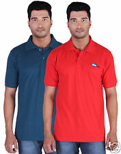 Fleximaa Men's Collar (Polo) T-Shirt Petrol Blue & Red Color (Pack of 2)