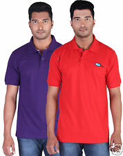 Fleximaa Men's Collar (Polo) T-Shirt Purple & Red Color(Pack of 2)