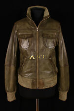 Lopez Olive Green (3758) Ladies Casual Waxed Real Lambskin Bomber Leather Jacket