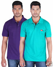 Fleximaa Men's Collar (Polo) T-Shirt Purple & Reliance Green Color (Pack of 2)