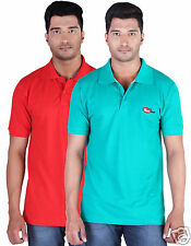 Fleximaa Men's Collar (Polo) T-Shirt Red & Reliance Green Color(Pack of 2)