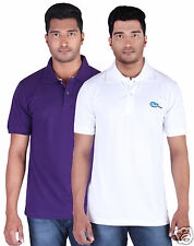Fleximaa Men's Collar (Polo) T-Shirt Purple & White Color (Pack of 2)