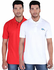 Fleximaa Men's Collar (Polo) T-Shirt Red & White Color (Pack of 2)