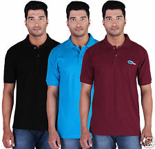 Fleximaa Men's Collar (Polo) T-Shirt Black,Blue & Maroon Color (Pack of 3)