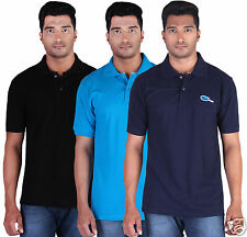 Fleximaa Men's Collar (Polo) T-Shirt Black,Blue & Navy Blue Color (Pack of 3)