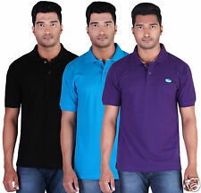 Fleximaa Men's Collar (Polo) T-Shirt Black,Blue & Purple Color (Pack of 3)