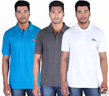 Fleximaa Men's Collar (Polo) T-Shirt Blue,Charcoal & White  Color (Pack of 3)
