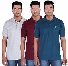 Fleximaa Men's Collar (Polo) T-Shirt Charcoal,Grey & Petrol  Color (Pack of 3)