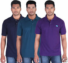 Fleximaa Men's Collar (Polo) T-Shirt Navy,Petrol Blue & Purple Color (Pack of 3)
