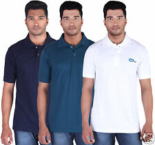 Fleximaa Men's Collar (Polo) T-Shirt Navy,Petrol & White Color (Pack of 3)