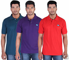 Fleximaa Men's Collar (Polo) T-Shirt Petrol Blue,Purple & Red Color (Pack of 3)