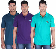 Fleximaa Men's Collar (Polo) T-Shirt Petrol,Purple & Reliance Color (Pack of 3)