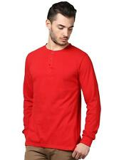 INKOVY Red Colour Cotton Fabric T-Shirt For Men (INKOVY-HENLEY-FULL-RED)