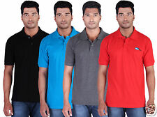 Fleximaa Men's Collar (Polo) T-Shirt Black, Blue, Charcoal & Red (Pack of 4)