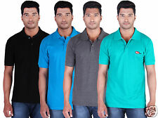 Fleximaa Men's Collar(Polo) T-Shirt Black, Blue, Charcoal & Reliance (Pack of 4)