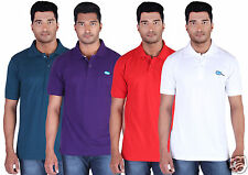 Fleximaa Men's Collar (Polo) T-Shirt Petrol,Purple,Red,White (Pack of 4)