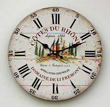 *NEW Vintage French Wine Label Wall Clock - Shabby Chic Cotes du Rhone Chateau