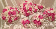 Wedding Flowers Hot Pink Ivory Bouquets Posy Wands Corsages Buttonholes Diamante