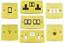 G&H Flat Plate Polished Brass Light Switches, Plug Sockets & Dimmer Switches