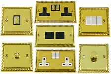 G&H Monarch Roped Polished Brass Light Switches, Plug Sockets & Dimmer Switches