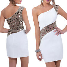 Women Evening Dress One shoulder Sequins Short Dresses Sexy Lady Cocktail party