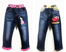 New Kids Girls Boys Jeans Cartoon Children Clothing Trousers Pants Size 3-12 Yrs