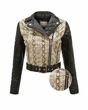 LADIES WOMENS SNAKE SKIN PATTERN FAUX LEATHER PVC BIKER JACKET BELTED COAT 8-14