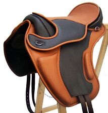 Treeless Dressage Selle LEEDS pad peau de vache velcro NOUVEAU Brown / Tan