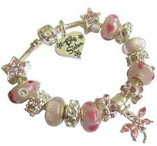 Personalised Charm Bracelet ladies Girls Sparkling Pink & Silver Gift Box