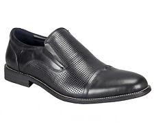 Adamis Mens New Slip On Formal Shoes Black Genuine Leather GCH-2