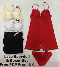 Lace Babydoll and Boxer Set Red Sexy Lingerie Chemise Nightwear Underwear New UK