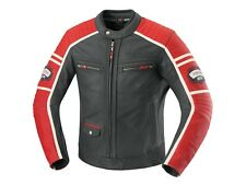 IXS Curtis Moto Giacca Pelle Uomo cool Vintage Giacca nera rosso Cafe Racer