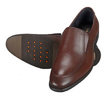 Adamis Mens New Slip On Formal Shoes Brown Genuine Leather GCH-6