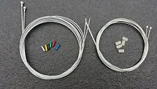 Road Racing Bike drop bars Gear & Brake set  Wire Cable Set +5 crimps +5 donuts