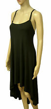 NEW! ZARA Black Slinky Crossover Assymetrical Hem Floaty Slip Dress Size 12 14