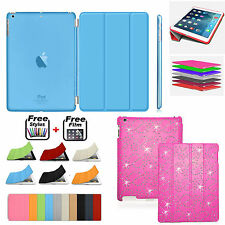 Bling Diamond Magnetic Leather Smart Case+Hard BACK Cover For Apple iPad 2 3 4