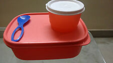 Tupperware Tiffin Lunch Storage Containers 3 pc combo MM rect, snack cup n spoon