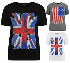 New Womens Plus Size American,Union Jack Flag Print Tee Tops 12-26