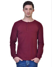 Inkovy Maroon Full Sleeve Cotton Men's T-Shirt (INKOVY-HENLEY-707-FULL-MAROON)