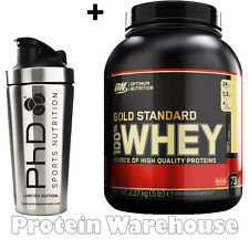Optimum Nutrition 5 lb Gold Whey Protein 2.27 kg + PhD Stainless Steel Shaker