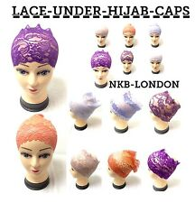 NEW Women Ladies Under Scarf HIJAB Lace Bone Bonnet Cap Many Colours Streachable