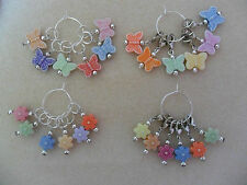 Knitting or Crochet Stitch Markers Set of 6 Butterflies or 6 Flowers
