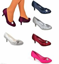 WOMENS SATIN DIAMANTE DETAIL LOW KITTEN HEEL FULL TOE COURT SHOES UK SIZES 3-8