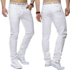Herren Jeans Hose weiß Denim STRETCH Regular Fit Five Pocket schick W29 - W44