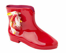 WOMENS RED WELLINGTON RAIN WELLIES PIXIE ANKLE CHELSEA BOOTS LADIES UK SIZE 3-8