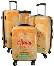 Polycarbonat Hartschalen Reise Koffer Trolley Set Bordgepäck Tropic Beach