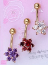3 Colour CZ Gem Bar Body Piercing Gold Plated Flower Navel Ring Belly UK Seller