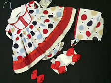 NEW GIRLS OFFICIAL SPANISH 3 PC WHITE POLKA DOT DRESS-BONNET-KNICKS SET 3/6 M