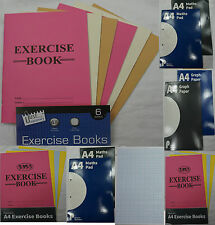 A4 A5 Exercise Books Maths Pad Graph Paper 20mm 5mm  70gsm refill  c104/15